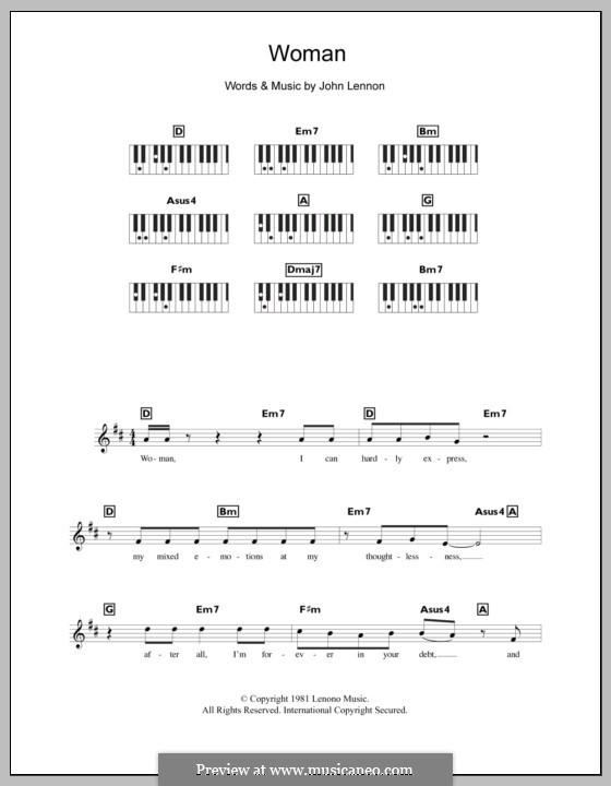 Woman: para teclado by John Lennon