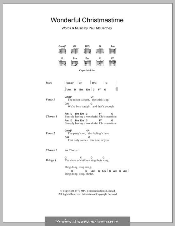 Wonderful Christmastime: Letras e Acordes by Paul McCartney