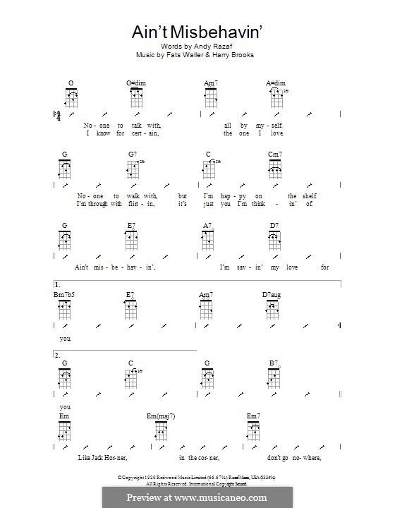 Ain't Misbehavin': para ukulele com dedilhado by Fats Waller, Harry Brooks