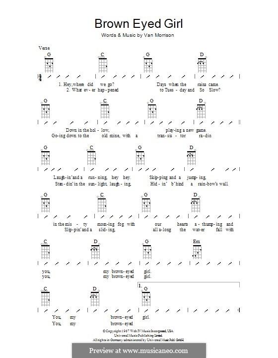 Brown Eyed Girl: ukulele com parte dedilhada by Van Morrison