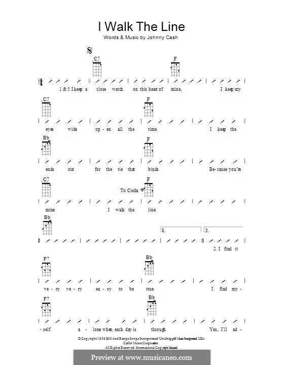 I Walk the Line: ukulele com parte dedilhada by Johnny Cash