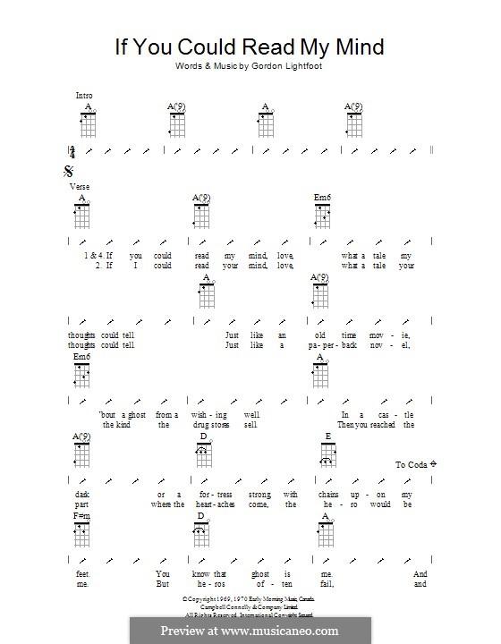 If You Could Read My Mind: ukulele com parte dedilhada by Gordon Lightfoot