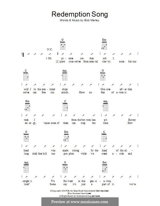 Redemption Song: para ukulele com dedilhado by Bob Marley