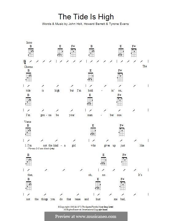 The Tide is High (Blondie): ukulele com parte dedilhada by Howard Barrett, John Holt, Tyrone Evans