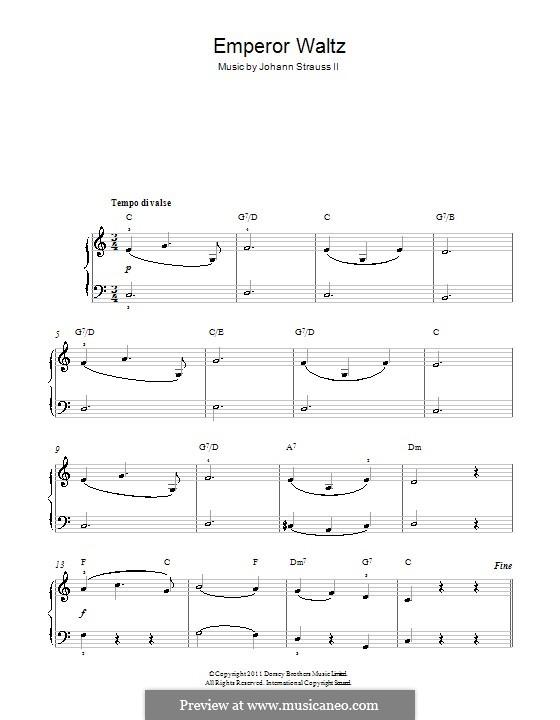 Emperor Waltz, Op.437: versão facil para piano by Johann Strauss (Sohn)