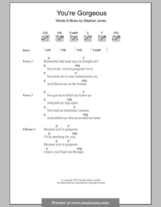 You're Gorgeous (Babybird): Letras e Acordes by Stephen Jones