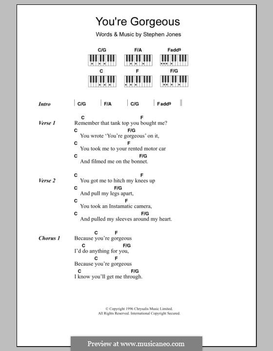 You're Gorgeous (Babybird): letras e acordes para piano by Stephen Jones