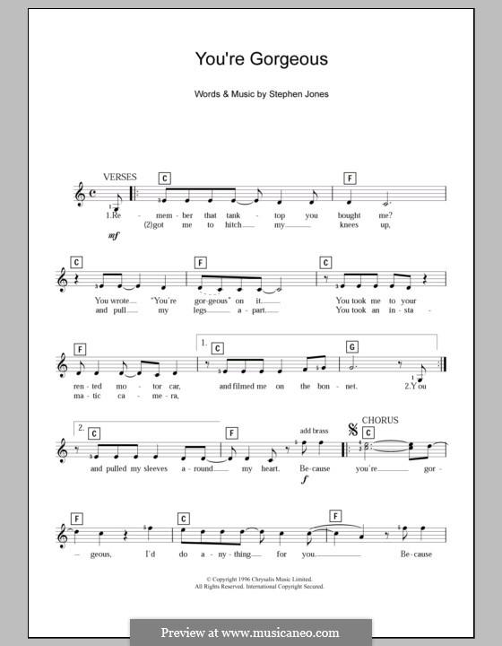 You're Gorgeous (Babybird): para teclado by Stephen Jones