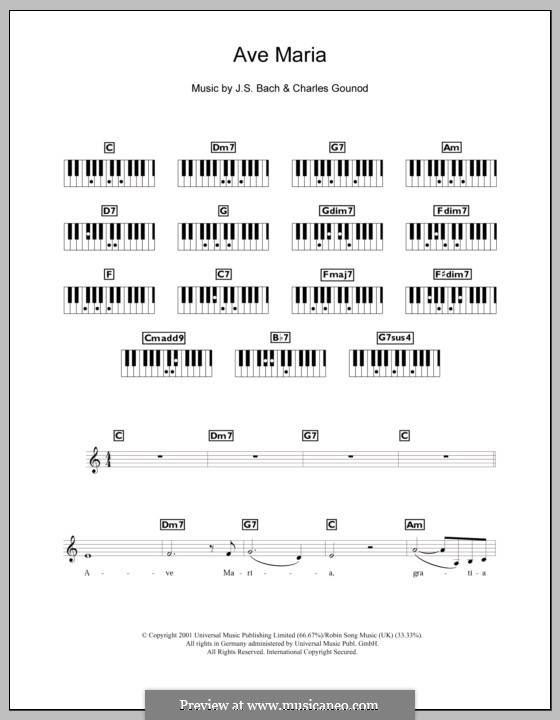 Ave Maria (Printable Sheet Music): para teclado by Johann Sebastian Bach, Charles Gounod