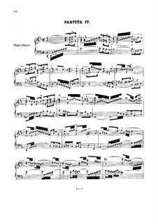 Partita for Keyboard No.4 in D Major, BWV 828: para um único musico (Editado por H. Bulow) by Johann Sebastian Bach