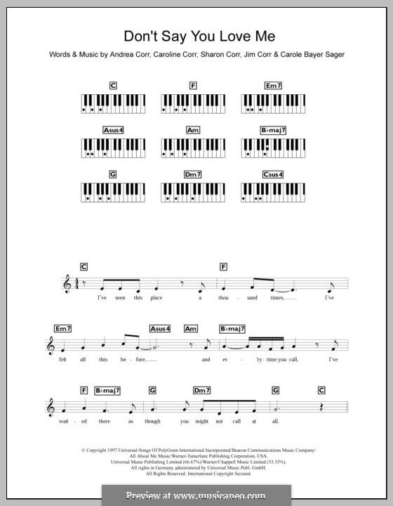 Don't Say You Love Me (The Corrs): para teclado by Andrea Corr, Carole Bayer Sager, Caroline Corr, Jim Corr, Sharon Corr