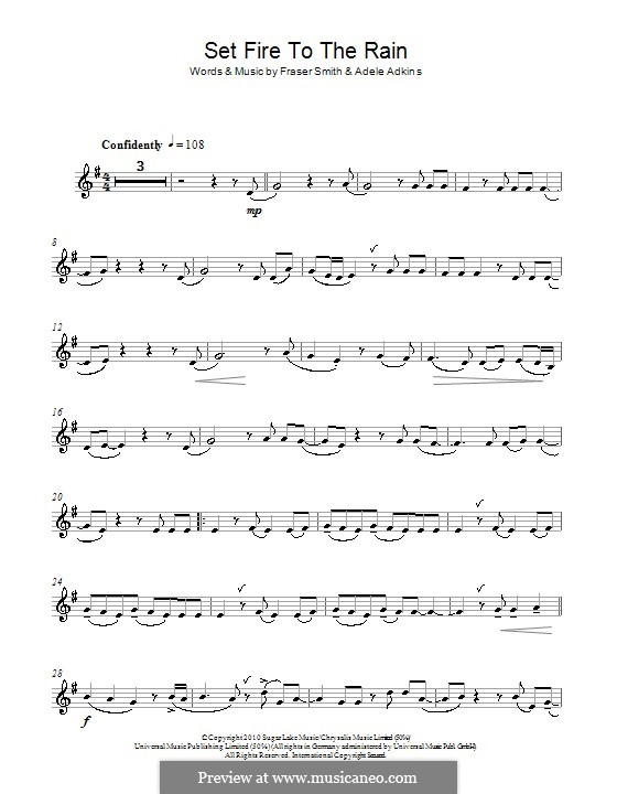Set Fire to the Rain: para clarinete by Adele, Fraser T. Smith