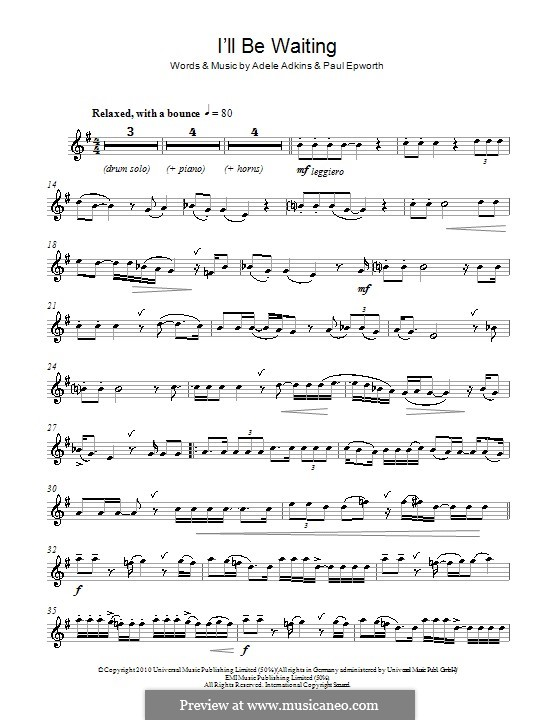 I'll be Waiting: para Saxofone Alto by Adele, Paul Epworth