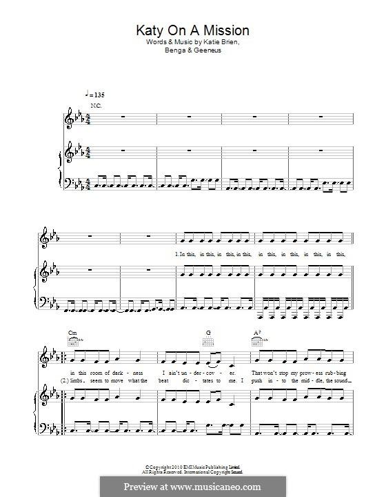 Katy on a Mission (Katy B): Para vocais e piano (ou Guitarra) by Benga, Geeneus, Katie Brien