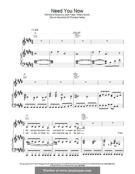 Need You Now: Para voz e piano ou guitarra (Glee Cast) by Charles Kelley, David Haywood, Hillary Dawn Scott, Josh Kear