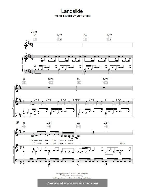Landslide (Fleetwood Mac): Para vocais e piano (ou Guitarra) by Stevie Nicks