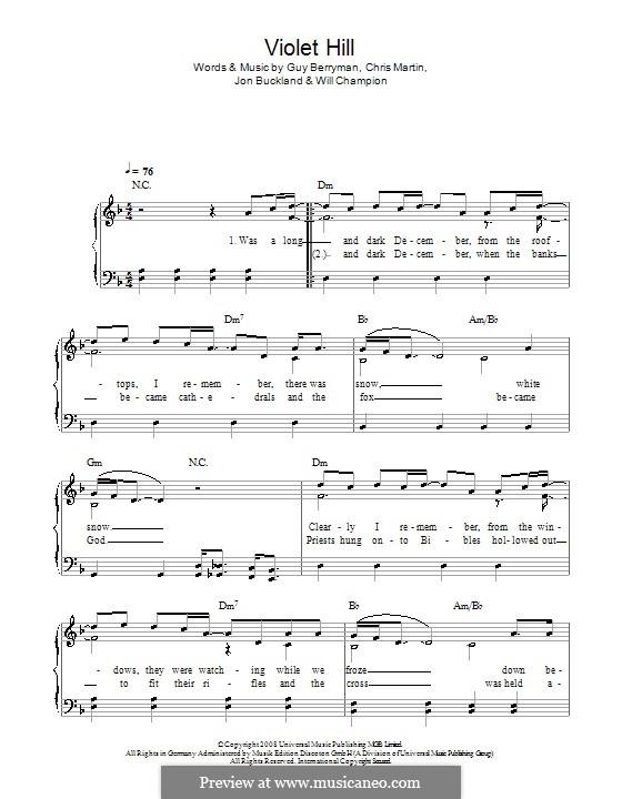 Violet Hill (Coldplay): Facil para o piano by Chris Martin, Guy Berryman, Jonny Buckland, Will Champion