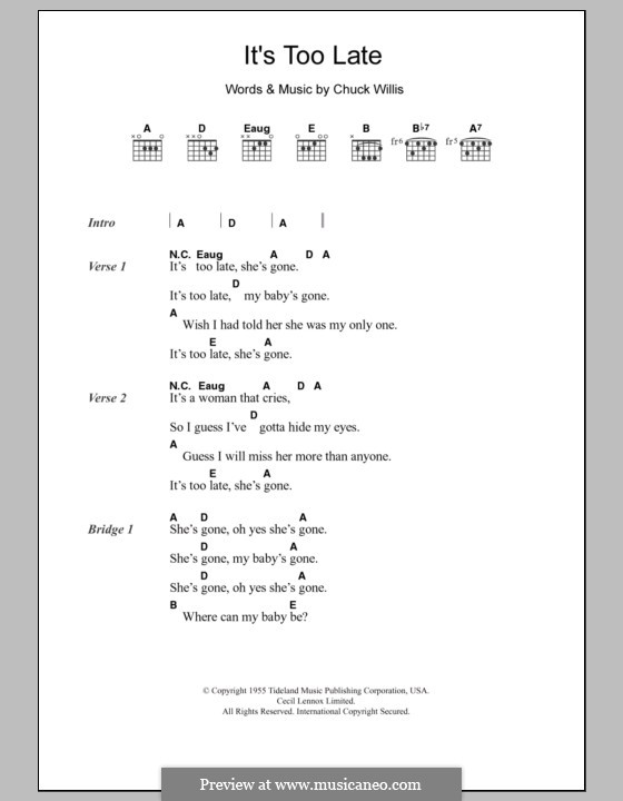 It's Too Late (Eric Clapton): Letras e Acordes by Chuck Willis