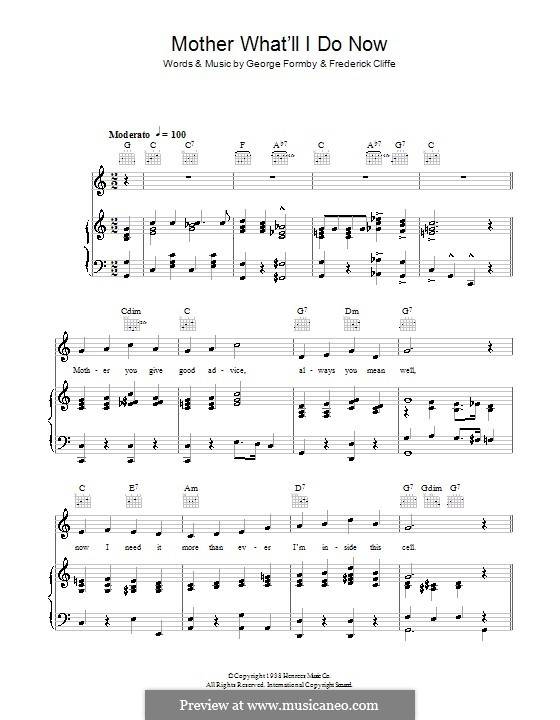 Mother What'll I Do Now: Para vocais e piano (ou Guitarra) by Frederick Cliffe, George Formby
