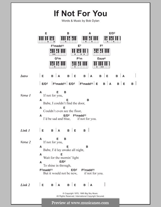 If Not for You: letras e acordes para piano by Bob Dylan