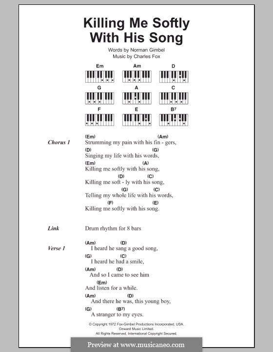 Killing Me Softly with His Song: Lyrics and piano chords (The Fugees) by Charles Fox