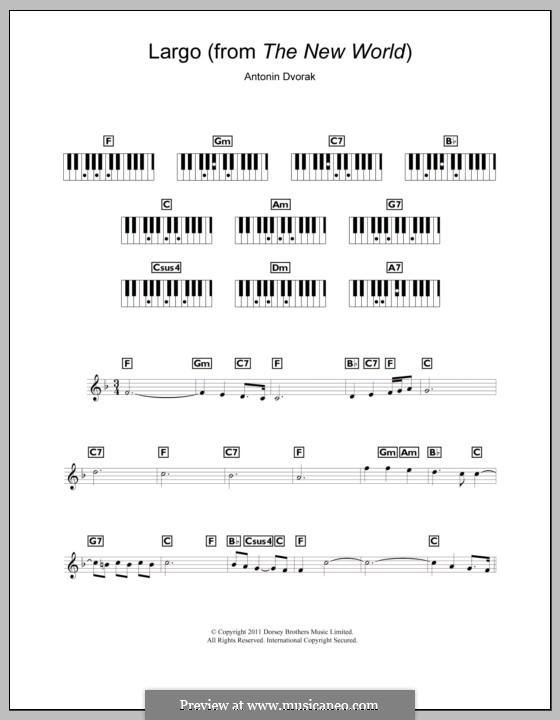 Movement II (Largo) Printable Scores: Theme, for keyboard by Antonín Dvořák