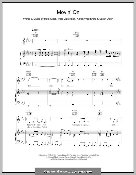 Movin' on (Steps): Para vocais e piano (ou Guitarra) by Keren Woodward, Mike Stock, Pete Waterman, Sarah Dallin