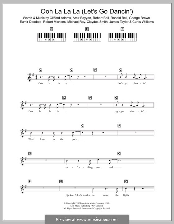 Ooh La La La (Let's Go Dancin'): For keyboard (Kool and The Gang) by James Taylor, Amir Bayyan, Claydes Smith, Clifford Adams, Curtis Williams, Eumir Deodato, George Brown, Michael Ray, Robert Bell, Robert Mickens, Ronald Bell
