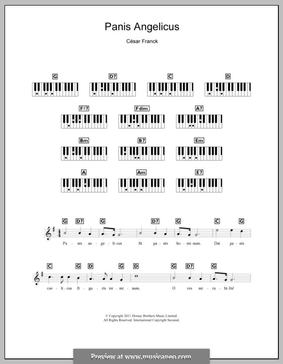 Panis Angelicus (O Lord Most Holy), Printable Scores: para teclado by César Franck