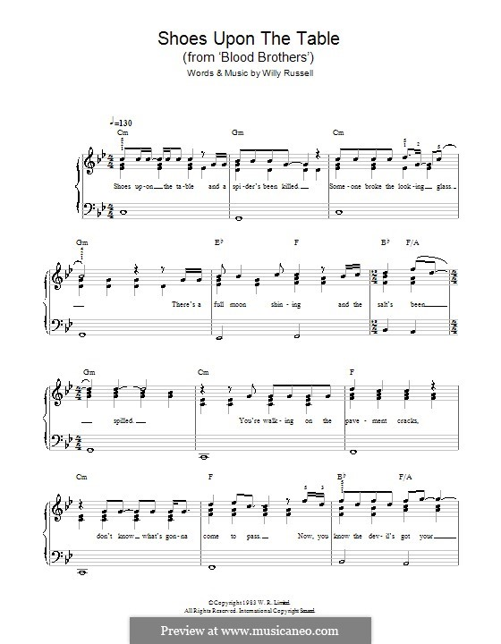 Shoes Upon the Table (from Blood Brothers): Facil para o piano by Willy Russell