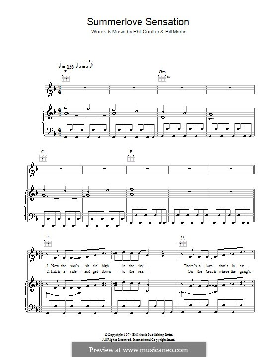 Summerlove Sensation (Bay City Rollers): Para vocais e piano (ou Guitarra) by Billy Martin, Phil Coulter