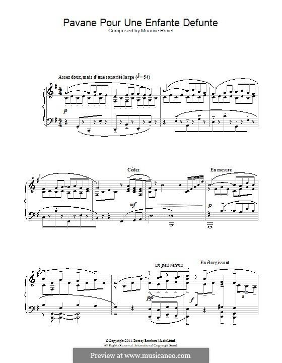 Pavane pour une infante défunte (Pavane for a Dead Princess), M.19: para piano (partituras de alta qualidade) by Maurice Ravel