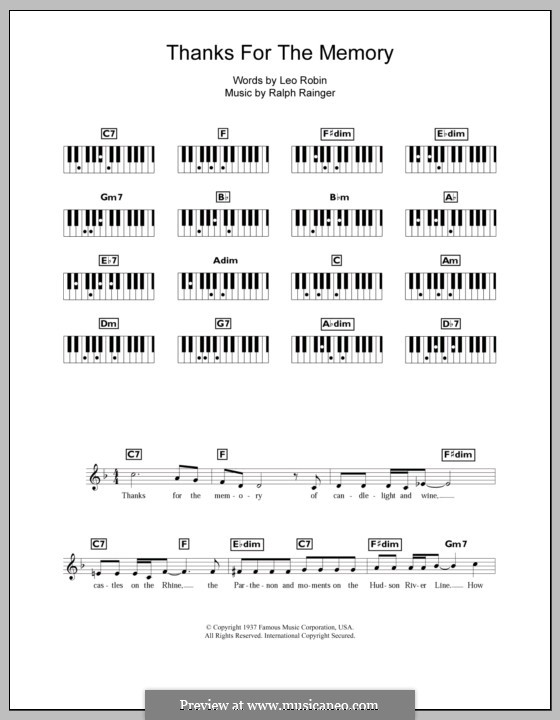 Thanks for the Memory: para teclado by Ralph Rainger