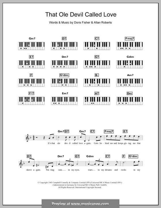 That Ole Devil Called Love (Diana Krall): para teclado by Allan Roberts, Doris Fisher