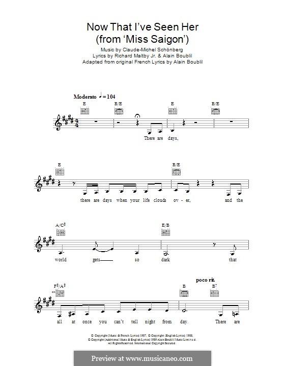 Now That I've Seen Her: melodía,letras e acordes by Claude-Michel Schönberg