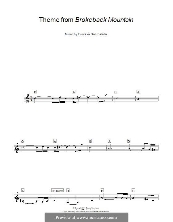 Theme from Brokeback Mountain: melodía,letras e acordes by Gustavo Santoalalla