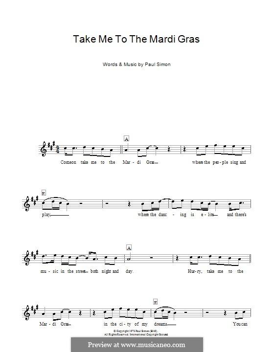 Take Me to the Mardi Gras: para teclado by Paul Simon