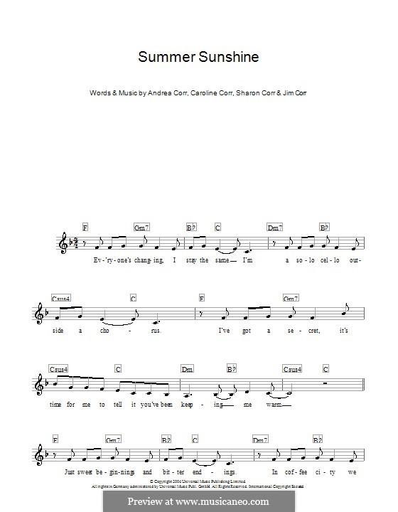 Summer Sunshine (The Corrs): para teclado by Andrea Corr, Caroline Corr, Jim Corr, Sharon Corr