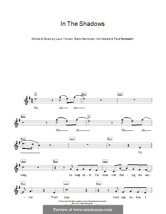 In the Shadows (The Rasmus): para teclado by Aki Hakala, Eero Heinonen, Lauri Ylönen, Pauli Rantasalmi