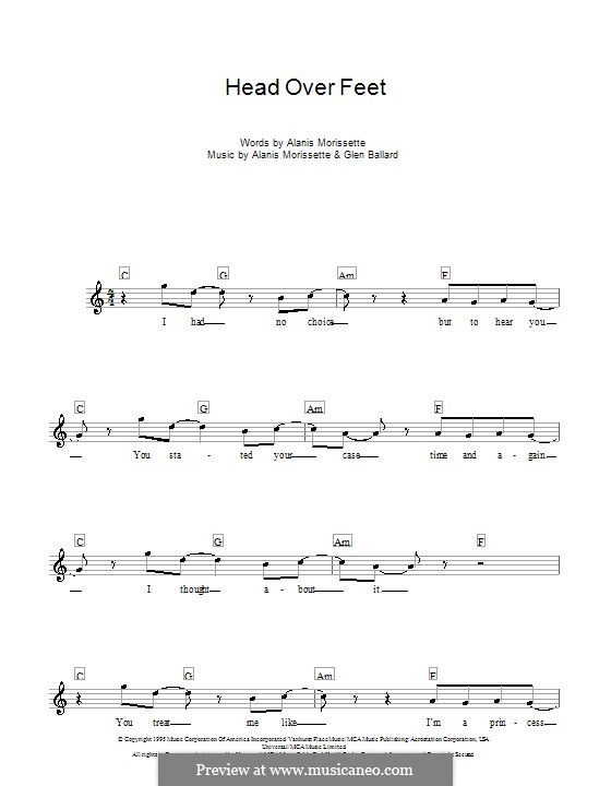 Head Over Feet: melodía,letras e acordes by Alanis Morissette, Glen Ballard