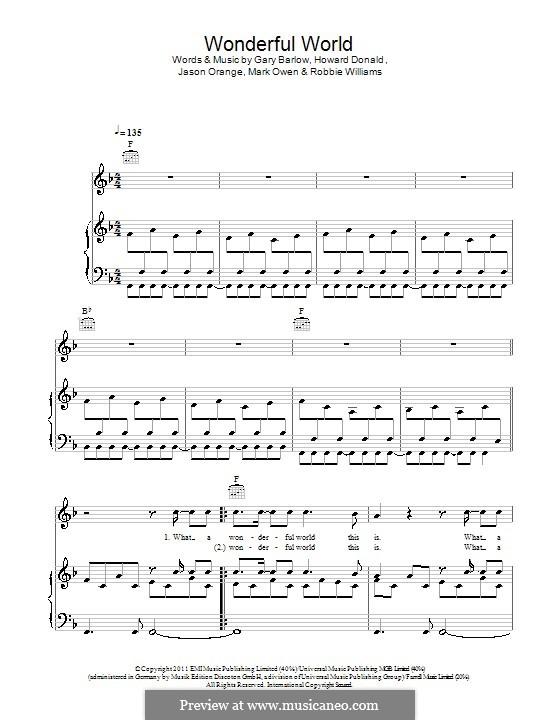 Wonderful World (Take That): Para vocais e piano (ou Guitarra) by Gary Barlow, Howard Donald, Jason Orange, Mark Owen, Robbie Williams