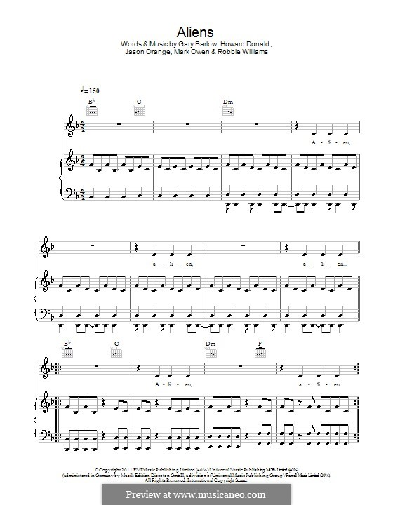 Aliens (Take That): Para vocais e piano (ou Guitarra) by Gary Barlow, Howard Donald, Jason Orange, Robbie Williams