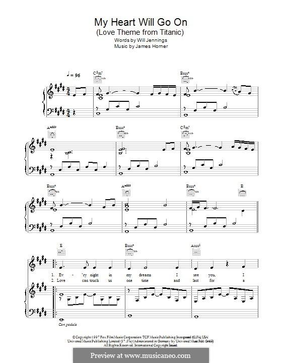 My Heart Will Go On (Love Theme from Titanic): para voz, piano ou guitarra (partituras de alta qualidade) by James Horner