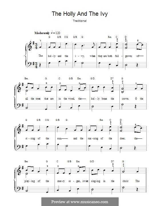 The Holly and the Ivy, for Piano: versão facil para piano by folklore