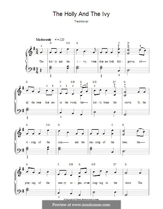 The Holly and the Ivy, for Piano: Versão facil para piano(com letras) by folklore