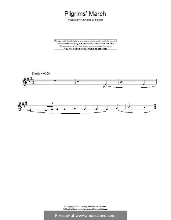 Choir of Pilgrims: para clarinete by Richard Wagner