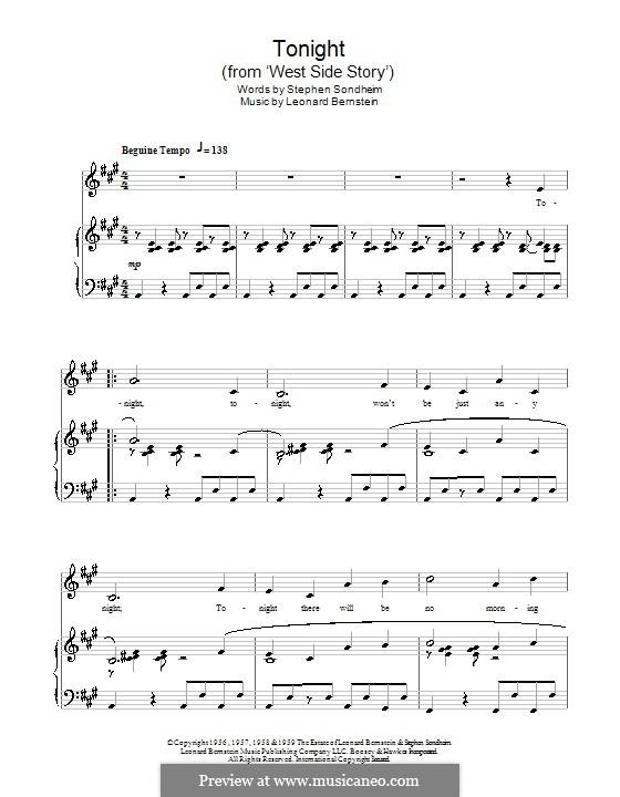 Tonight (from West Side Story): Para vocais e piano by Leonard Bernstein