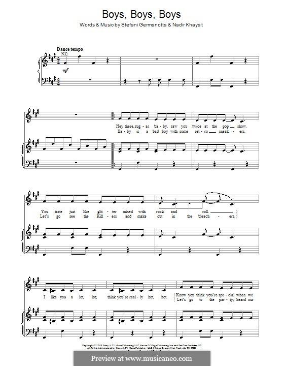 Boys Boys Boys (Lady Gaga): Para vocais e piano (ou Guitarra) by RedOne, Stefani Germanotta