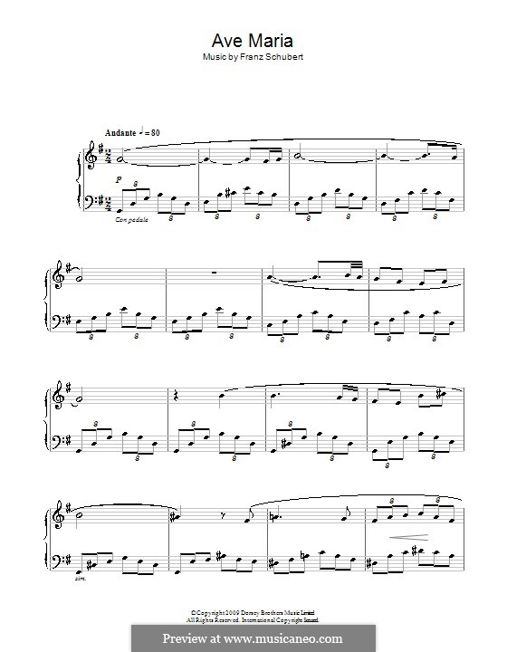 Ave Maria (Printable Scores), D.839 Op.52 No.6: Facil para o piano by Franz Schubert