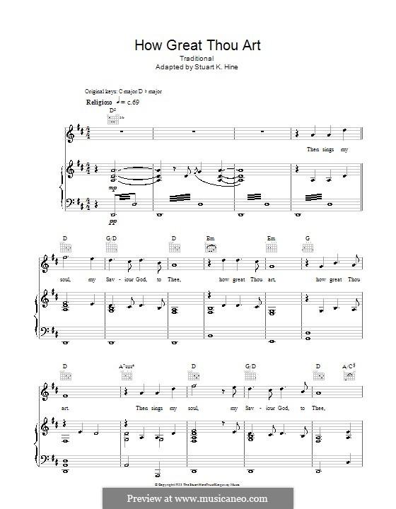 How Great Though Art: Para vocais e piano (ou Guitarra) by folklore